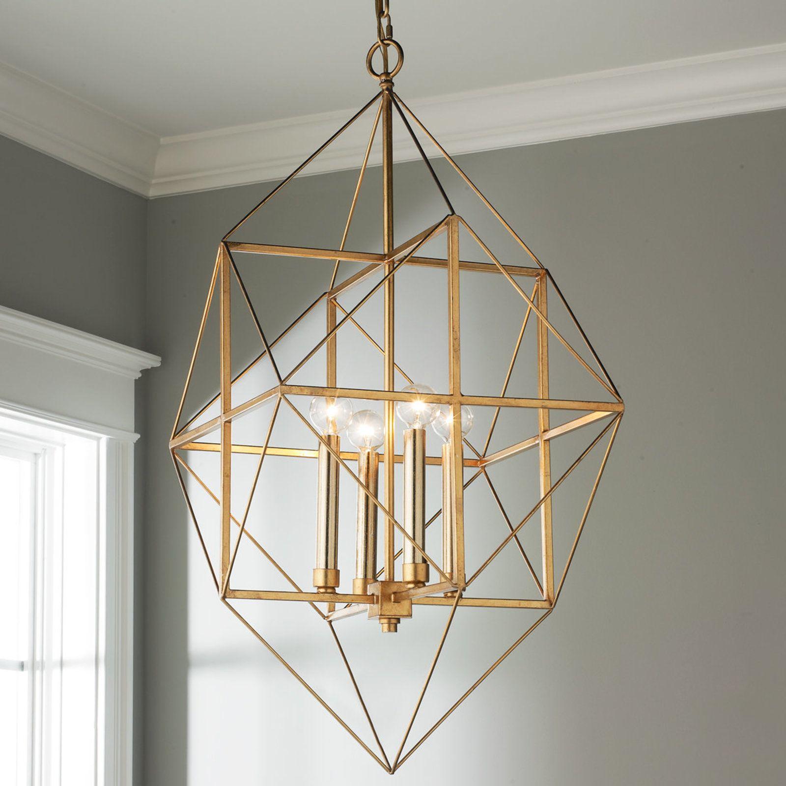 Geometric Gold and Silver Leaf Lantern Small