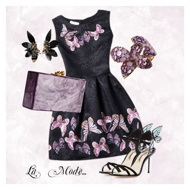 """La Mode...:  papillon encore..."" by lamodelle ❤ liked on Polyvore featuring WithChic, Enigma, Sophia Webster, Edie Parker, Marni, butterfly and Papillon"