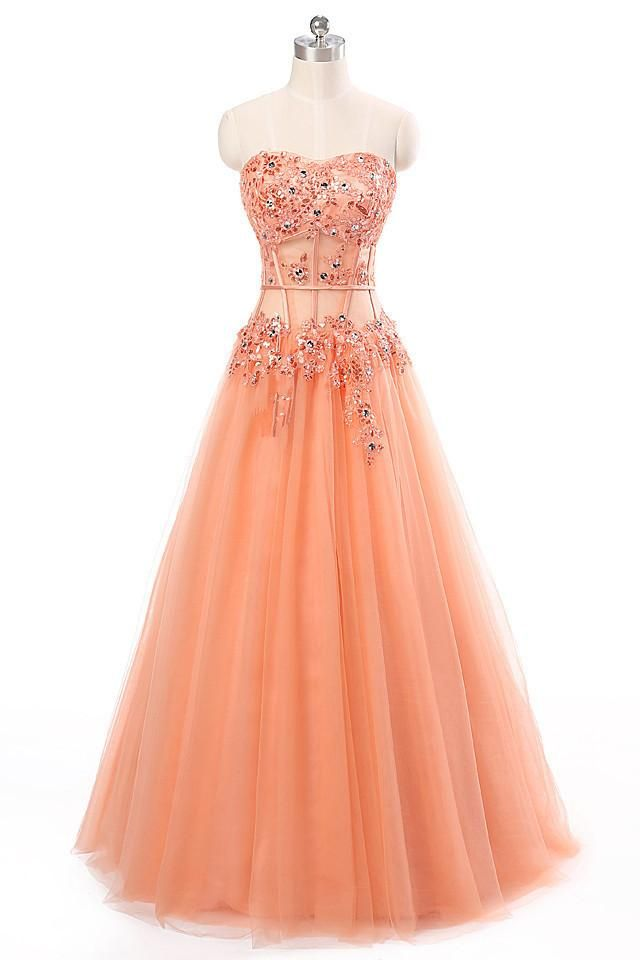 Orange Tulle A-line Beading Formal Long Dress  4c3bccc787c85