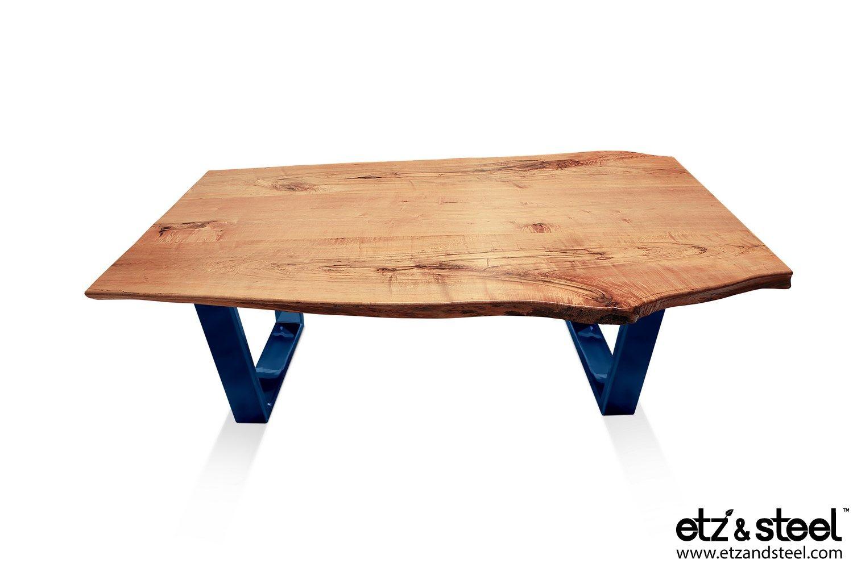 """""""Kona"""": Hard Maple Live-Edge Coffee Table with Steel Base, Midnight Navy #diningtables #woodslab #homeinterior #houzz #liveedge #diningroom"""