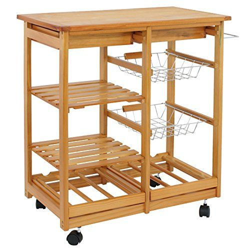 Super Deal Rolling Kitchen Storage Cart Wood Dining Trolley W 2 Drawers And Shelves Natural Kitchen Stor Kitchen Storage Cart Wood Kitchen Wood Kitchen Island