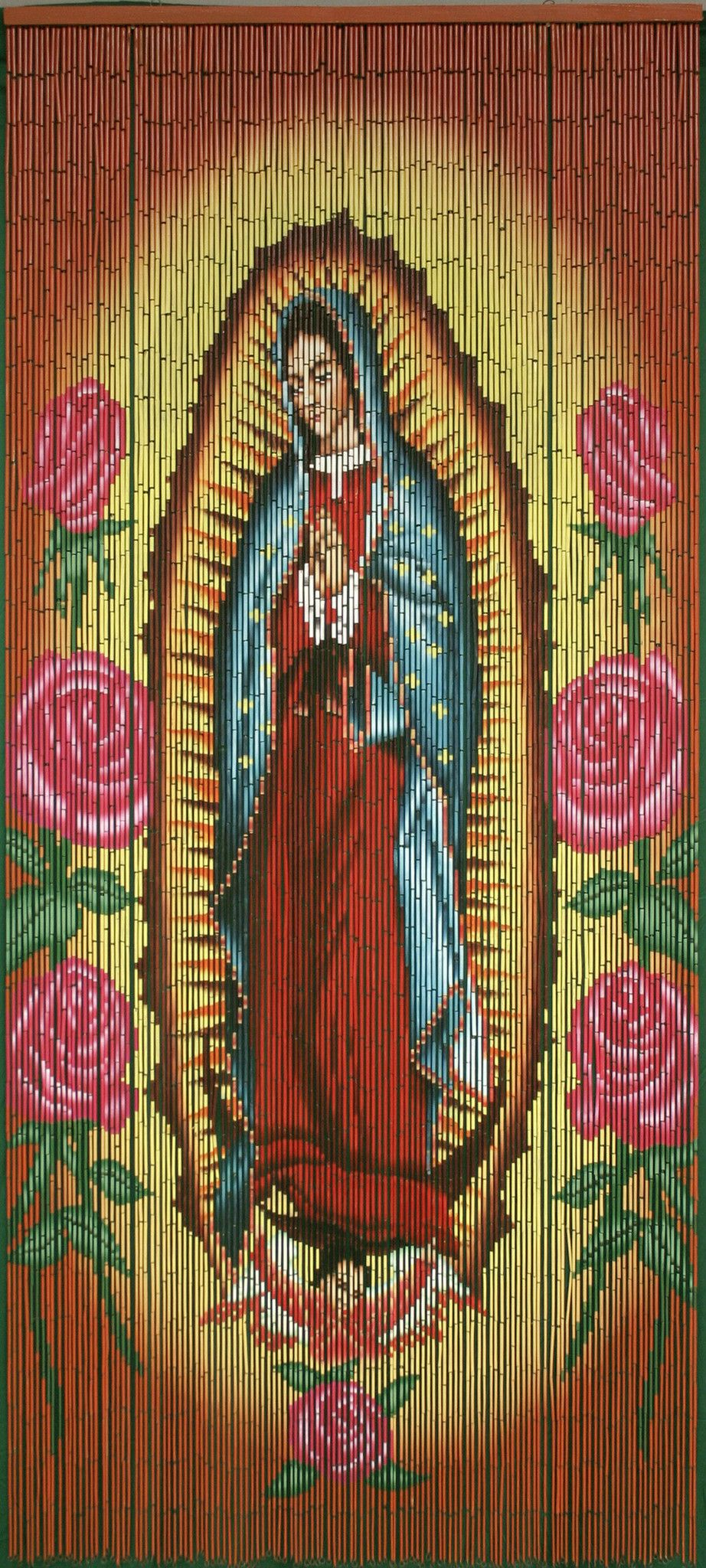 Bamboo Beaded Curtain Hand Painted Virgin Of Guadalupe