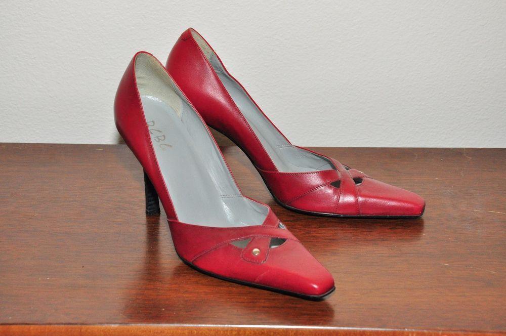 5c4181652b0 bcbg size 9 Red Leather High Heels Slip On Fancy Dress Shoes Wedding ...