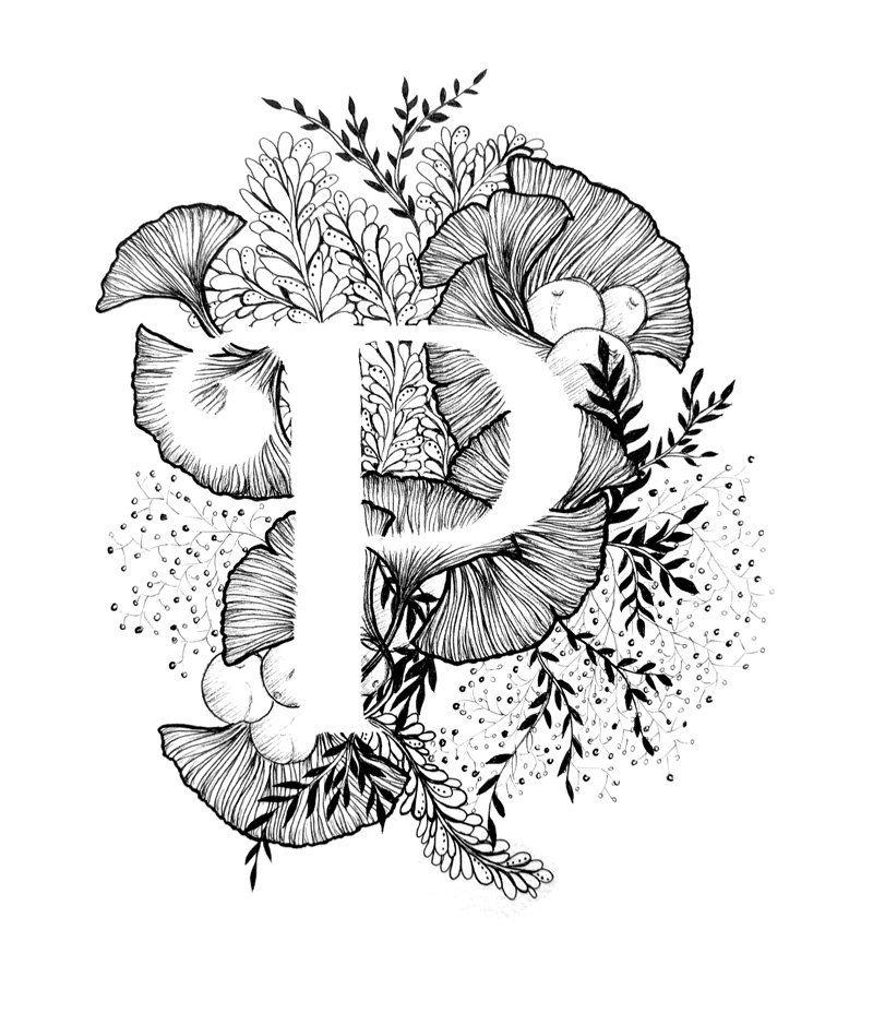 Imprimir letra P alfabeto caligrafía tipografía por archsehgal - p&l statement template