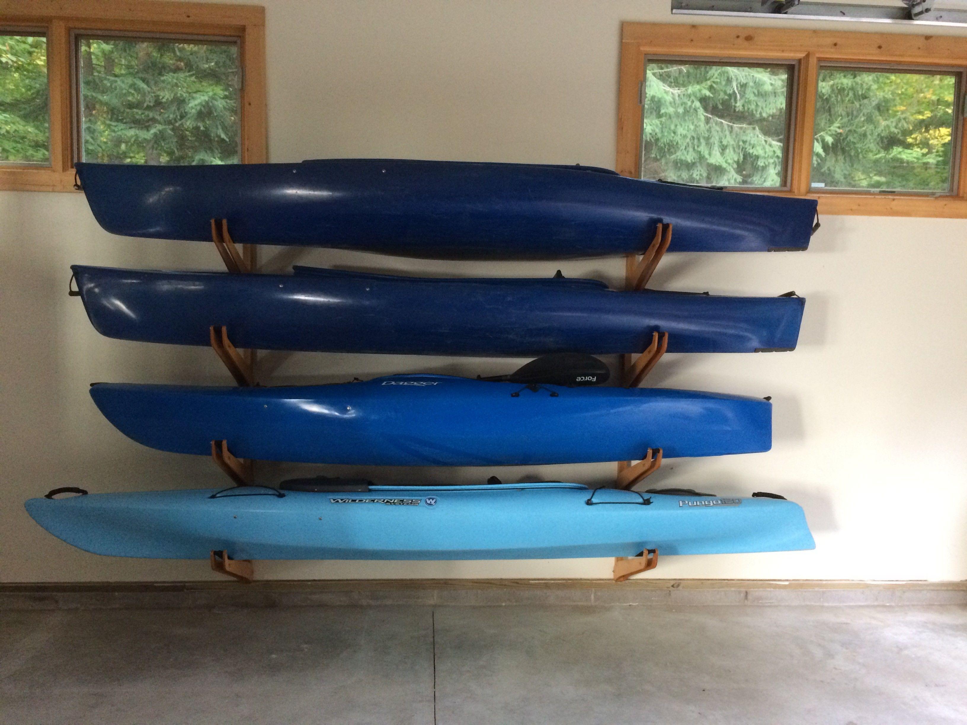 Beautiful wooden kayak racks looks great while storing