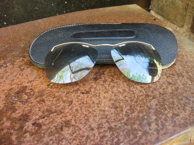 038bddb8cad 1940s French Clip-on Sunglasses w  original case. Vintage style quality  gold browline frame