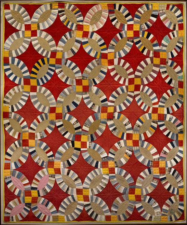 Double Wedding Ring Quilt Maker Unknown C 1930 1940 American Folk