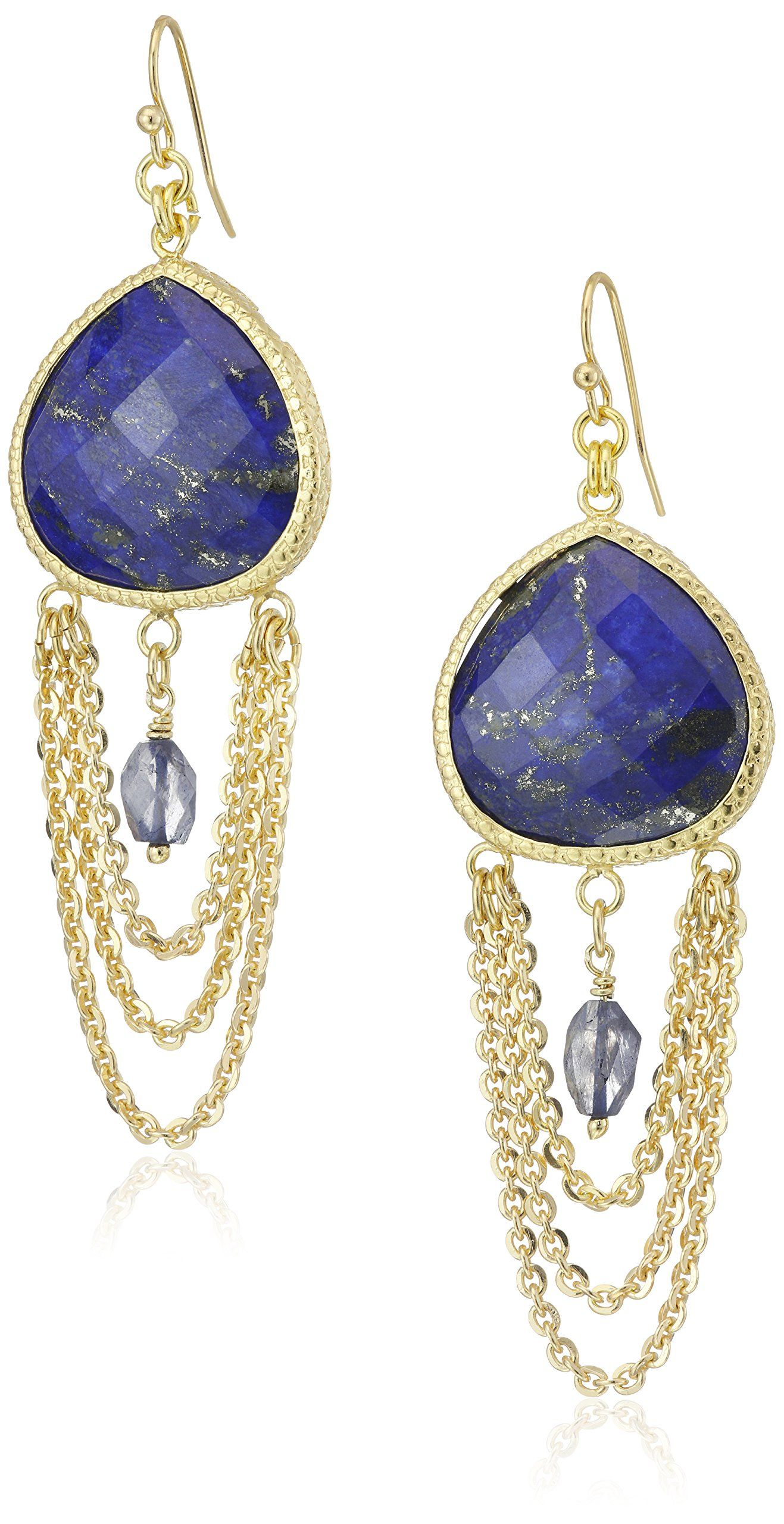 Coralia Leets Jewelry Design Chandelier Lapis Blue French Wire – Gold Tone Chandelier Earrings