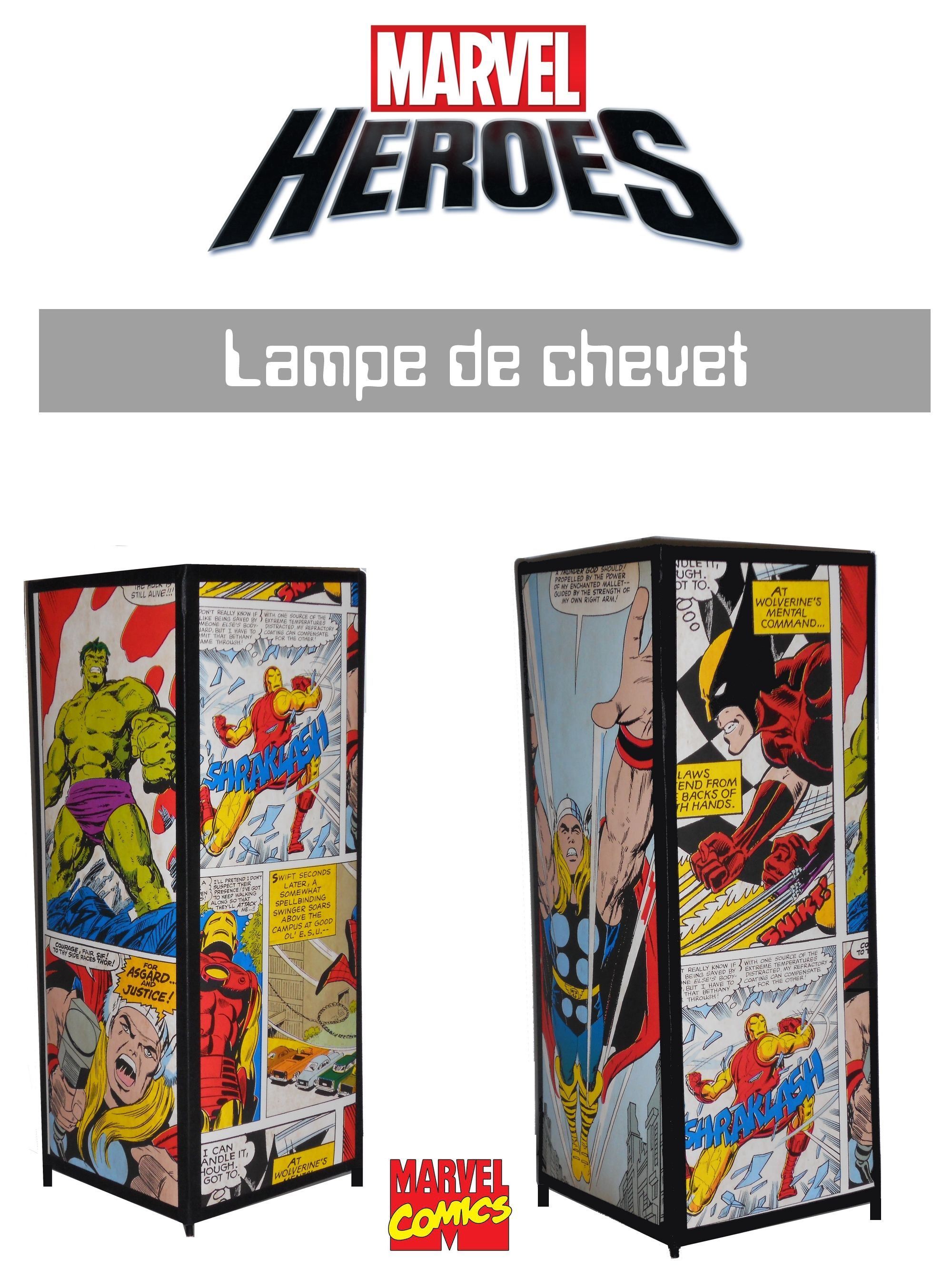 Lampe De Chevet Deco Marvel Speciales Super Heros Hulk Spider Man