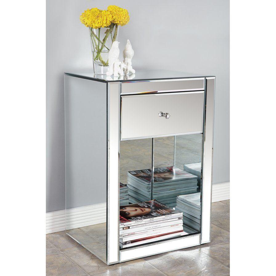 Best Ashtyn 1 Drawer Nightstand Furniture Mirrored Furniture 400 x 300