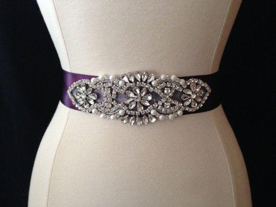 Purple Wedding Dress Sash Rhinestone Bridal Belt Weddings