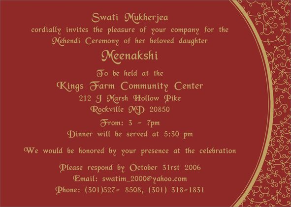 Indian Wedding Invitation Wording For Friends Card: Wording For Mehndi Invitation - Google Search