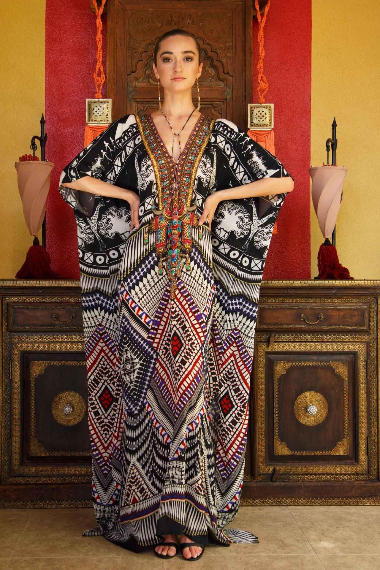 d66a21e35d4 Black and White African Print Kaftan Dress in 2019