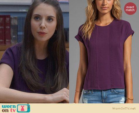 Annie's purple pleated blouse on Community. Outfit Details: http://wornontv.net/24633 #Community #fashion