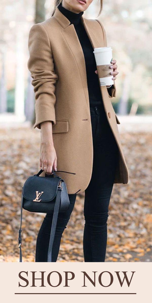 【$42.95 USD】Solid Color Stand-Up Collar Pocket Coat #Coats #KhakiCoats #WinterCoats