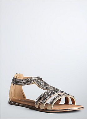 27c86d746  p A gladiator sandal that slays with built-in sparkle. The creamy faux  leather cage straps are embellished with all sorts of shine - from  rhinestones to ...