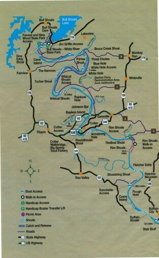 White River Arkansas Map Arkansas White River Fishing Map | Fishing maps, River fishing
