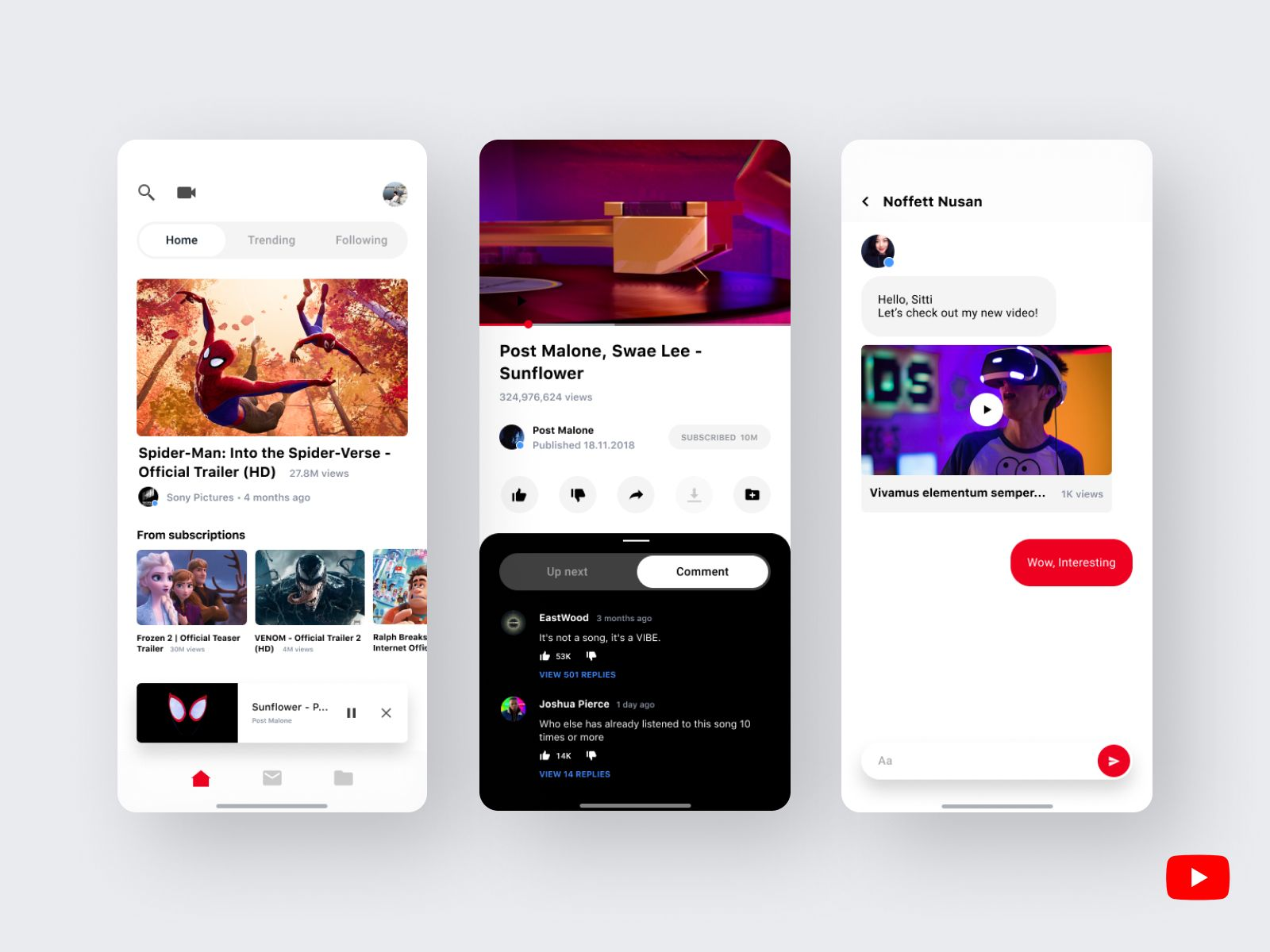 Youtube Refresh Youtube Redesign 2019 Mobile App Design Inspiration Creative App Design Web App Design