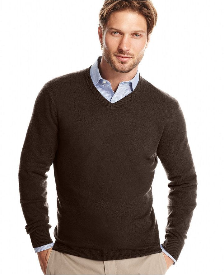 Club Room Big And Tall Cashmere V Neck Solid Sweater Mi Estilo