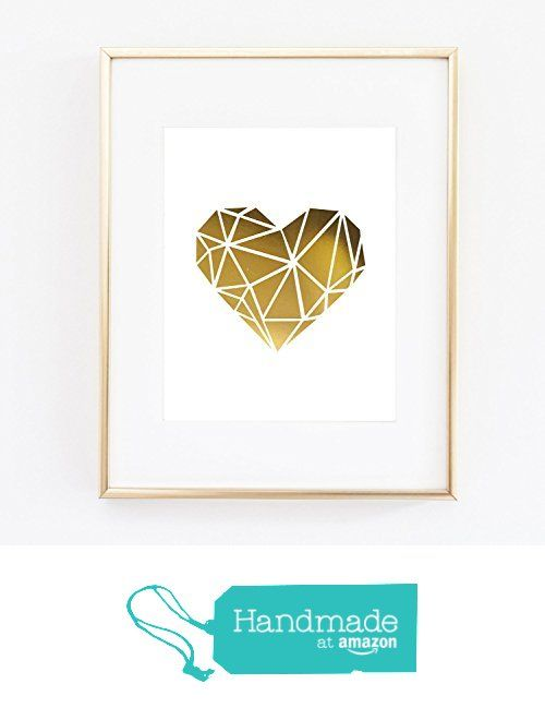 Geo Geometric Heart Love Modern Gold Foil All Art Print Color Poster