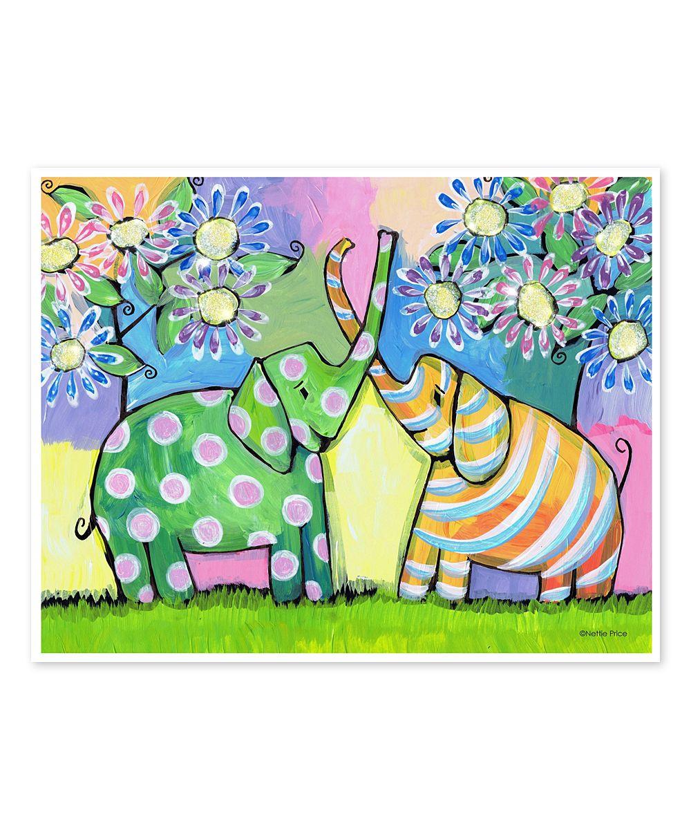 Nettie Price Elephants & Flowers HandEmbellished Art