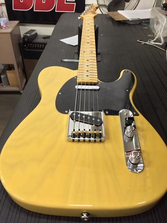 G&L Musical Instruments  Here's an ASAT Classic Alnico in Butterscotch Blonde over swamp ash, 1-ply black guard, OLS body depth, maple neck with Vintage Tint Gloss finish.