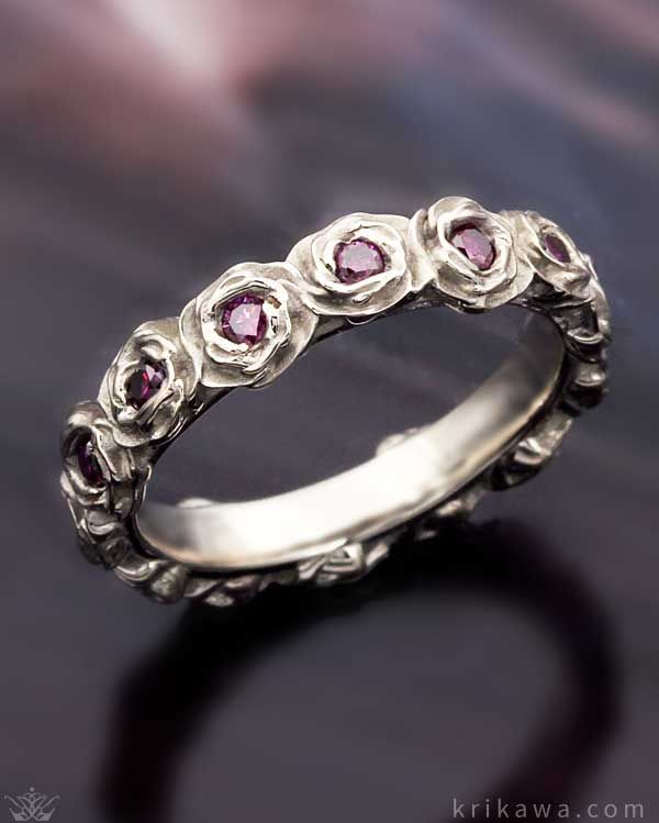 Ring O Roses Wedding Band With Purple Diamonds Pee And Feminine This Fl Is Custom Made In The Metal Stones You Love Most