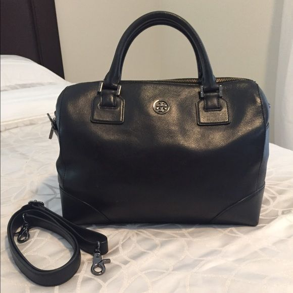 Tory Burch Robinson Satchel Most new, Tory Burch Robinson Satchel in Black with limited edition Gunmetal hardware. It's a beautiful bag for any occasion. Tory Burch Bags Satchels