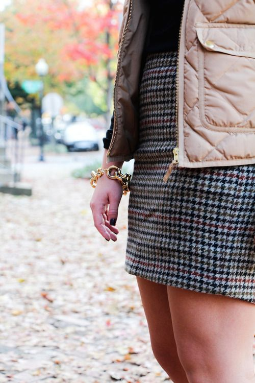 Tweed skirt & quilted jacket