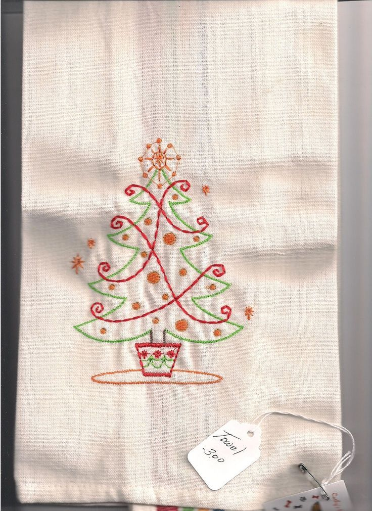 free hand embroidery christmas patterns for dish towels - yahoo ...
