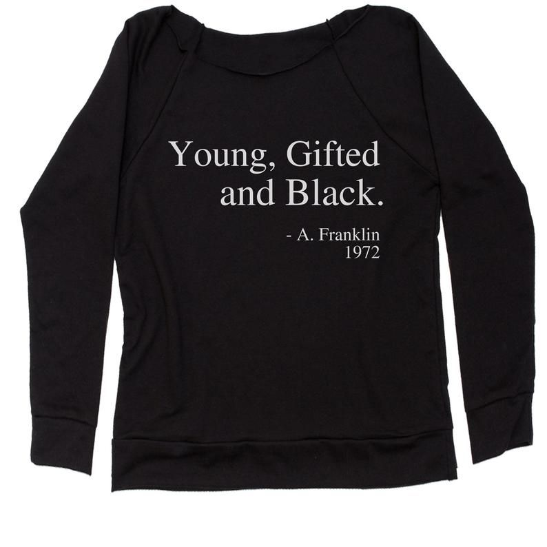 Gifted and Black Quote Slouchy Off Shoulder Oversized Sweatshirt Young