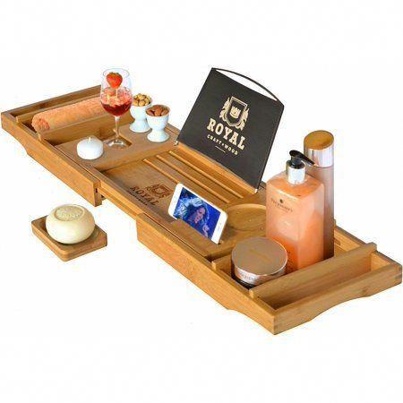 Royal Craft Wood Natural Bamboo Luxury Bathtub Caddy Tray Organizer for Bath Products – Water Resistant – Walmart.com