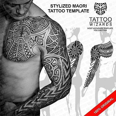 full sleeve chest maori polynesian tribal tattoo stencil template - tattoo template