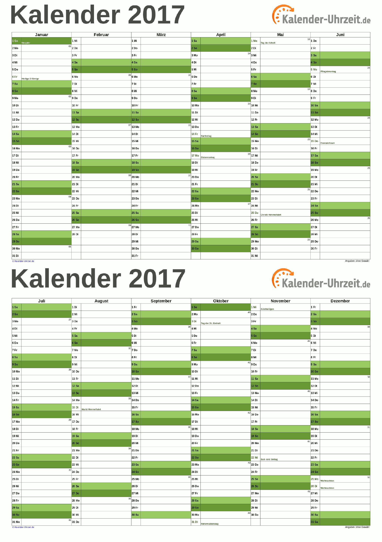 Kalender 2017 A5, PDF-Vorlage grün. #KalUhr Weitere Kalender ...