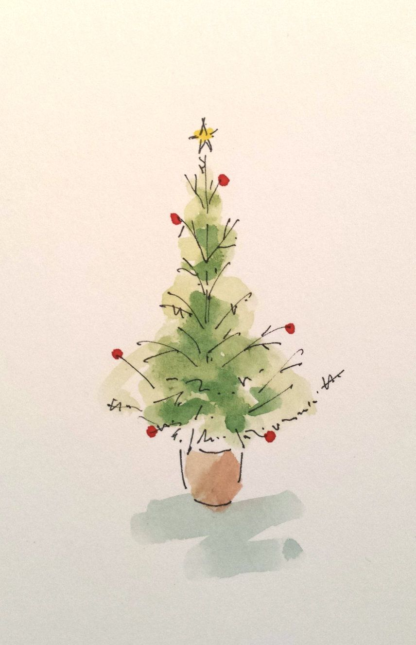 Hand Painted Watercolour Christmas Tree 4 x 6 Unique Holiday Art Piece
