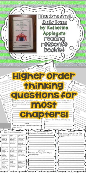 The One and Only Ivan Response Booklet - Comprehension Questions for most chapters $