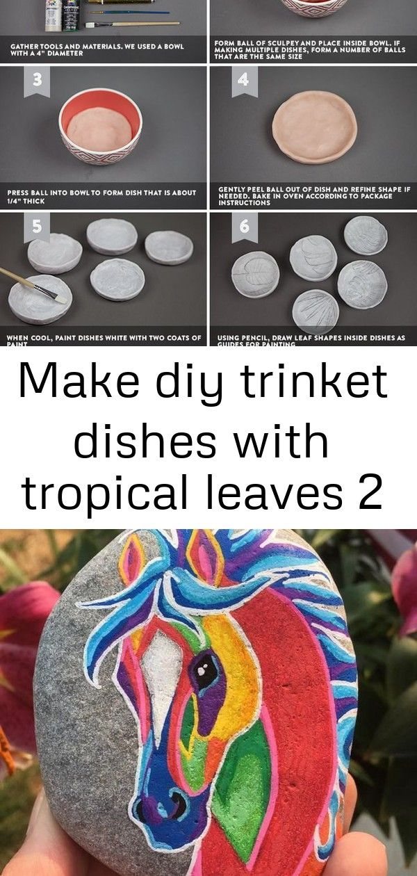 Make diy trinket dishes with tropical leaves 2 #junglepattern