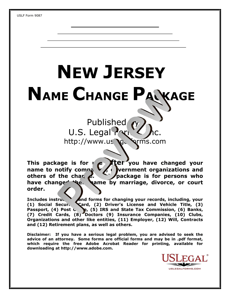 Name Change Notification Package For Brides Court Ordered Name