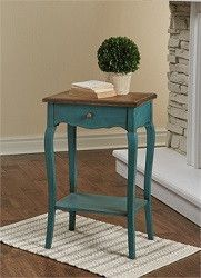 Archdale Wood Table Primitive Coastal Country Teal Accent