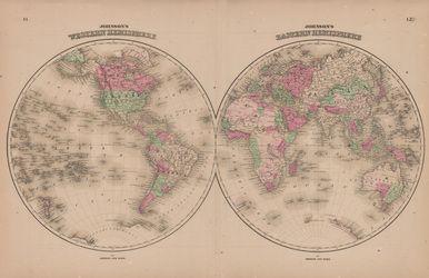 Western Eastern Hemispheres Antique Map Johnson 1865 World