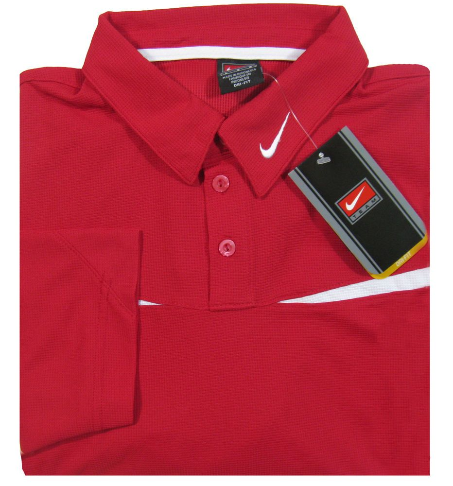 75410790 NIKE Team Dri Fit Mens L Red S/S Polo Shirt NEW w/Tags Old Stock $55 MSRP  #Nike #PoloRugby