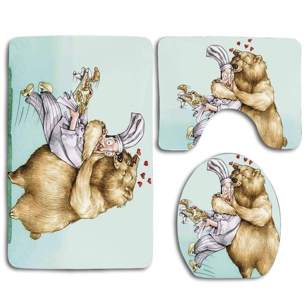 Cartoon Big Bear Fully Hugs Pastry Love Humor Satire Romance Theme Artful 3 Piece Bathroom Rugs Set Bath Rug Contour Mat Toilet Lid Cover Material: 100% Flannel Top,Non-Slip Backing.       3 Piece Bath Mat Set included:   1 x Bath Mat: 18x30 inch/45x75 cm,    1 x Contour Mat: 18x14 inch/45x35 cm,  1 x Toilet Lid Cover: 18x14.7 inch/45x37.5 cm.          Easy to clean, can be directly washed by washing machine or hands, not shed and fade.