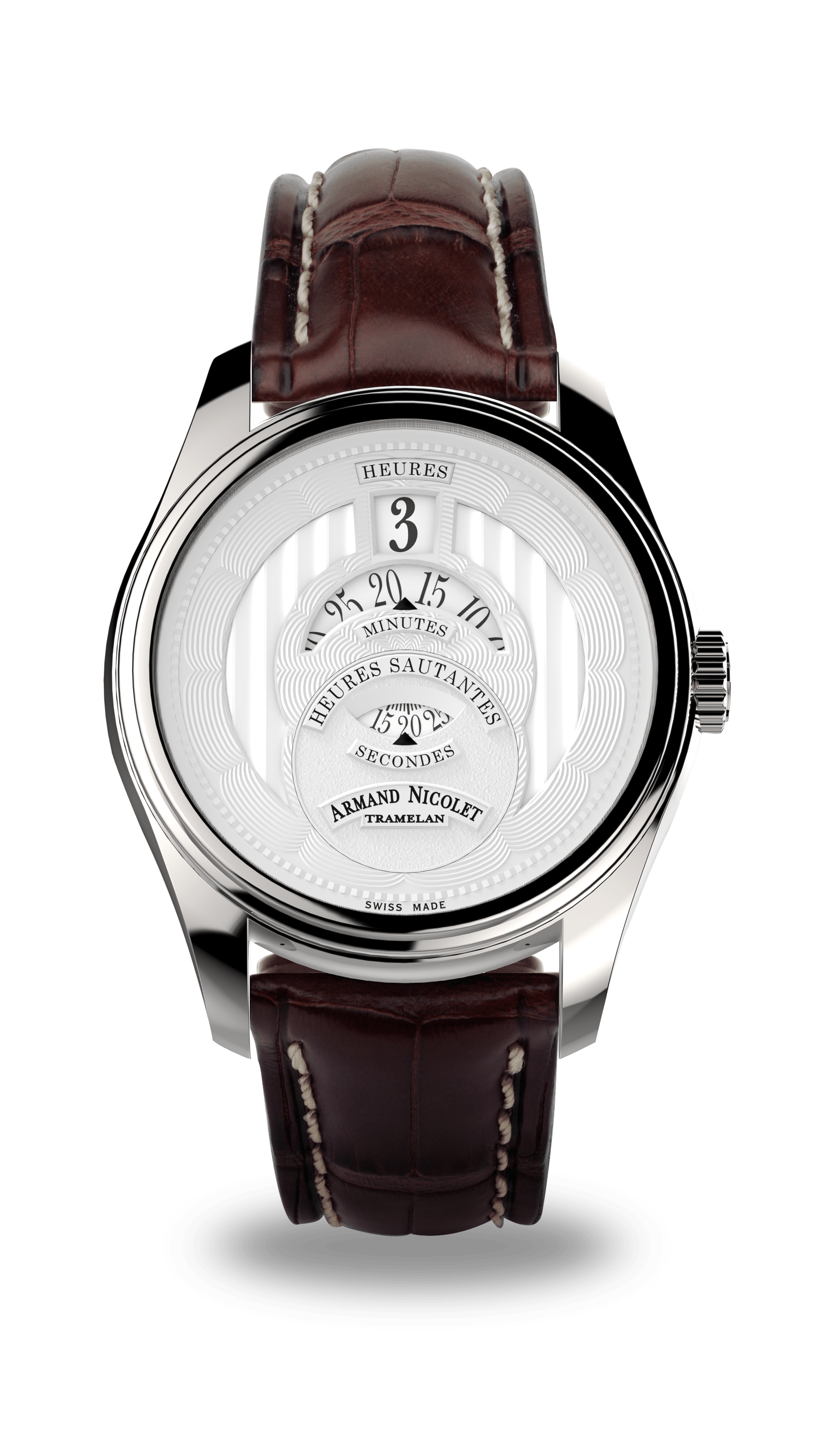 2aab872e972 HS2 - Stainless Steel 316L with Brown Alligator Strap - A136AAA-AG-P974MR2  - Armand Nicolet