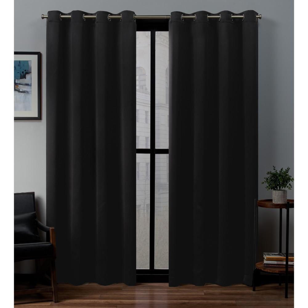 Sateen 52 In W X 108 In L Woven Blackout Grommet Top Curtain