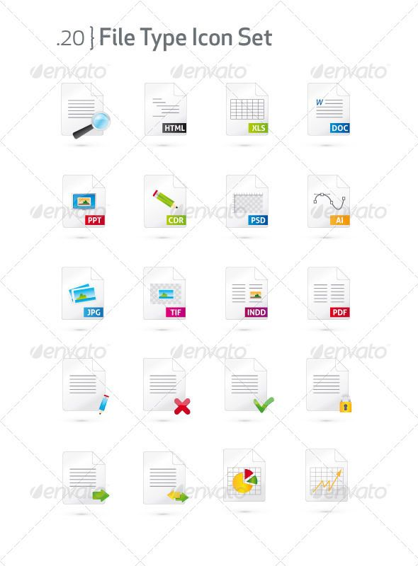 Document and File Type Icon Set  #GraphicRiver         Set of 20 document and file format vector icons. Icons are ready to use and easy to edit in Adobe Illustrator. Font i used:  .fontsquirrel /fonts/Aller   icon list: html, xls, doc, ppt, cdr, psd, ai, jpg, tif, indd, pdf + search, accept, cancle, edit, lock, send…     Created: 4February12 GraphicsFilesIncluded: JPGImage #VectorEPS #AIIllustrator Layered: No MinimumAdobeCSVersion: CS Tags: accept #ai #cancle #cdr #corel #doc #draw #edit…