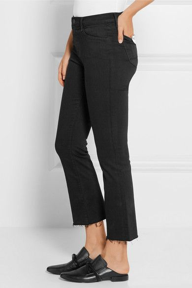 Black stretch-denim Button and concealed zip fastening at front 94% cotton, 4%…