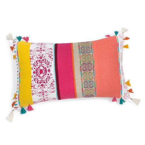 Coussin à pompons en coton multicolore 30 x 50 cm ADHIRA