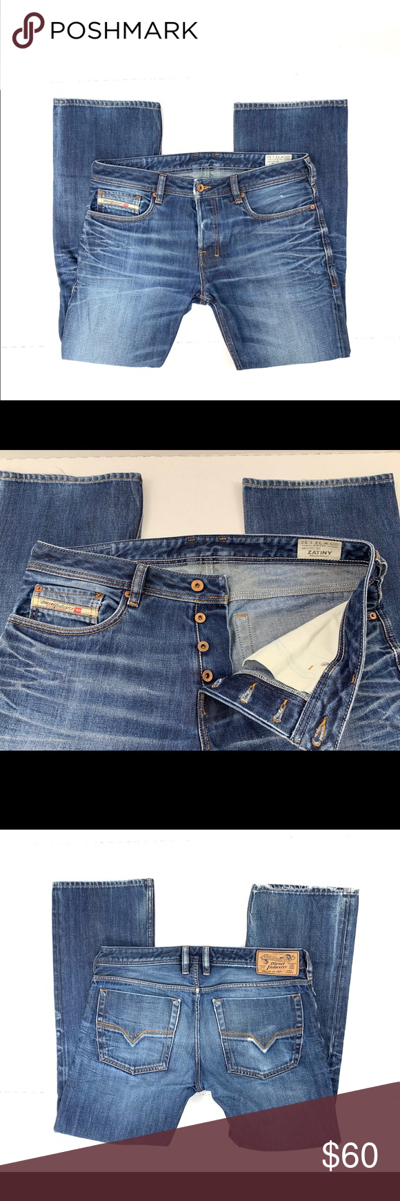 Diesel Zatiny Jeans Authentic Diesel Zatiny Men S Size 33x32 Wash 0073n Regular Bootcut Jeans 100 Cotton Waist 33 Insea Diesel Zatiny Diesel Jeans Jeans