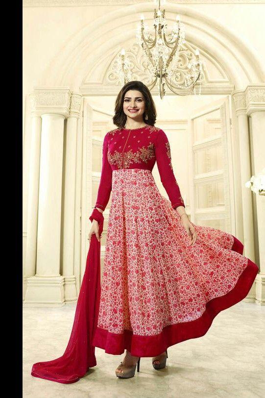 Gorgeous and Beautiful Prachi Desai Red colour Georgette Anarkali ...