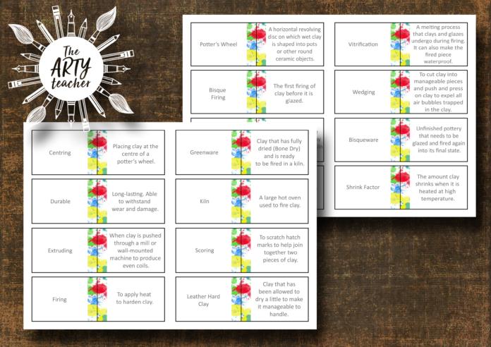 Teaching Ceramics Definition Matching Cards Ceramic Terms Teaching Matching Cards Ceramics